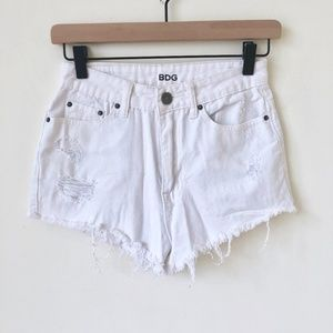 BDG high rise white denim shorts
